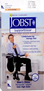 JOBST Men's Dress Socks, 8-15mmHG Compression, Black, Extra-Large - 1 Pair