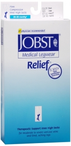 Jobst Medical LegWear Relief Knee High Compression Socks, 20-30 mmHg, Black, Large