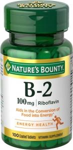 Nature's Bounty Vitamin B-2 100mg Tablets, 100ct