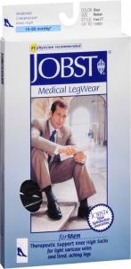 JOBST Men's Socks, 15-20mmHG Compression, Black, Medium- 1 Pair