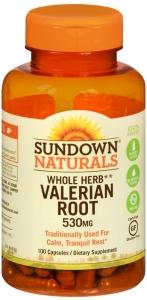 Sundown Naturals Valerian Root, 530 MG, 100 Capsules