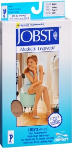 Jobst UltraSheer, Thigh High, 20-30mmHG Compression, Natural, Medium, 1 Pair