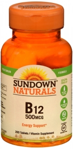 Sundown Naturals B12 Vitamin Supplement Tablets, 500mcg, 200 count