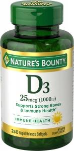 Nature's Bounty Vitamin D-3 1000 IU Softgels  - 250ct