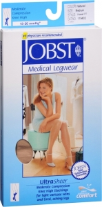 Jobst UltraSheer, Knee High, 15-20mmHG Compression, Natural, Medium, 1 Pair