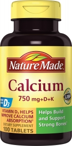 Nature Made Calcium 750mg with Vitamins D3 and K 100 Tablets