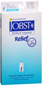 Jobst Medical LegWear Relief Knee High Compression Socks, 20-30 mmHg, Beige, Large
