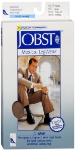 JOBST Men's Socks, 15-20mmHG Compression, Khaki, Large - 1 Pair
