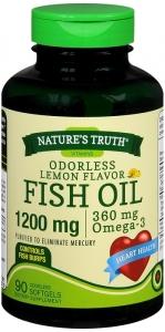 Natures Truth Odor Less 1200mg Fish Oil, Lemon, 90ct