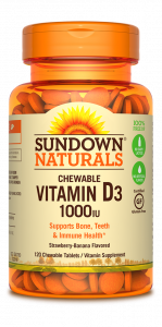 Sundown Naturals Chewable Vitamin D3 1000 IU, Tablets, Strawberry-Banana, 120ct