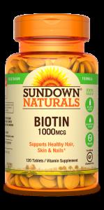 Sundown Naturals High Potency Biotin 1000 Mcg Tablets - 120ct
