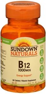 Sundown Naturals B12 1000 mcg Vitamin Supplement Tablets - 60ct