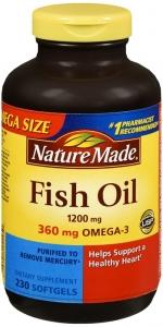 Nature Made Fish Oil 1200mg + 360mg Omega-3 Liquid Softgels - 230ct