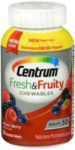 Centrum Adult 50+ Fresh and Fruity Chewables Mixed Berry 60ct