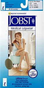 Jobst UltraSheer, Knee High, 20-30mmHG Compression, Natural, Large, 1 Pair