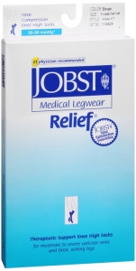 Jobst Medical LegWear Relief Knee High Full Calf Compression Socks, 20-30 mmHg, Beige, Extra-Large