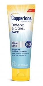 Coppertone Defend & Care Clear Zinc Sunscreen Face Lotion SPF 50, 3 fl oz