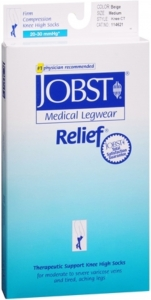 Jobst Medical LegWear Relief Knee High Compression Socks, 20-30 mmHg, Beige, Medium