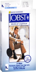 JOBST Men's Socks, 15-20mmHG Compression, Black, Extra-Large - 1 Pair