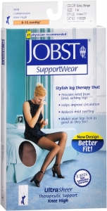 Jobst UltraSheer, Knee High, 8-15mmHG Compression, Silky Beige, Medium, 1 Pair