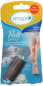 Amope Pedi Perfect Roller Head Foot File Refill, 2ct, 1 Extra Coarse & 1 Soft Touch
