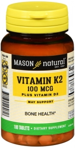 Mason Natural Vitamin K2 100mcg Plus D3 1000 IU Tablets 100ct