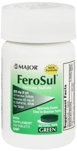 Major Ferosul Ferrous Sulfate 325mg 100 Tablets