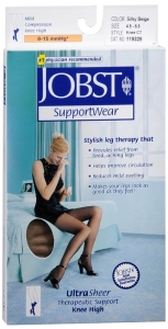 Jobst UltraSheer, Knee High, 8-15mmHG Compression, Silky Beige, Small, 1 Pair