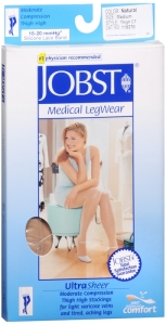 Jobst UltraSheer, Thigh High, 15-20mmHG Compression, Natural, Medium, 1 Pair