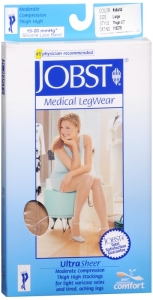 Jobst UltraSheer, Thigh High, 8-15mmHG Compression, Natural, Large, 1 Pair