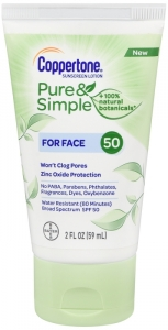 Coppertone Pure & Simple Face Sunscreen SPF 50, 2oz