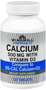 Windmill Comparables Calcium 500 mg Tablets With Vitamin D  120ct