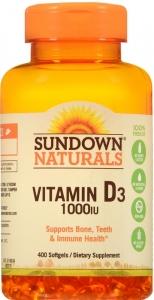 Sundown Naturals High Potency Vitamin D3 1000 IU 400 Softgels