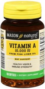 Mason Natural Vitamin A 10000 IU From Fish Liver Oil Softgels, 100 ct