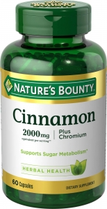 Nature's Bounty High Potency Cinnamon 2000mg Plus Chromium 400mcg, 60ct