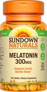 Sundown Naturals Melatonin, 300 mcg, Tablets, 120ct