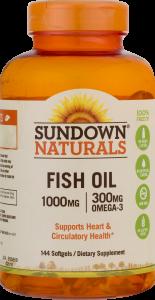 Sundown Naturals Fish Oil 1000mg - 144 Softgels