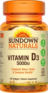 Sundown Naturals Vitamin D 5000 IU Softgels 150ct