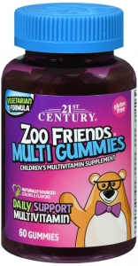 21st Century Zoo Friends Multi Gummies, Fruit, 60 ct