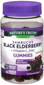 Nature's Truth Sambucus Black Elderberry Plus Vitamin C, and Zinc Gummies, 50 ct