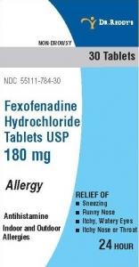 Dr. Reddy's Fexofenadine Hcl Tablets, 180mg, 30ct