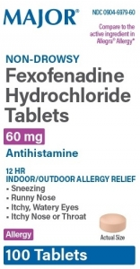 Fexofenadine 60 mg Tablets (Generic Allegra) - 100 Count Bottle