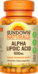 Sundown Naturals Super Alpha Lipolic Acid 600 Mg Capsules, 60ct