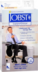 JOBST Men's Dress Socks, 8-15mmHG Compression, Black, Large - 1 Pair