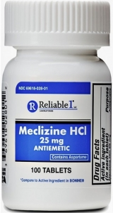 Reliable 1 Meclizine HCL 25mg Chew Tablets- 100ct