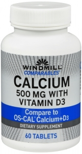 Windmill Calcium 500 Mg Tablets Oyster Shell With Vitamin D 60 ct