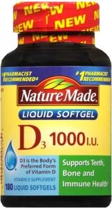 Nature's Made Vitamin D-3 1000 IU Softgel - 180ct