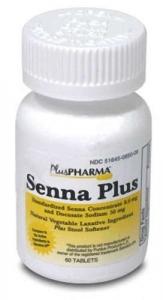 Senna Natural Vegetable Laxative Plus Stool Softener (8.6mg) - 60 Tablets