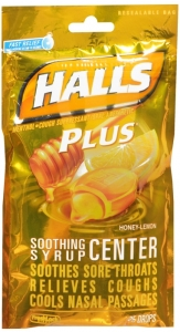 Halls Soothing Syrup Center (Halls Plus new packaging)-  Honey/Lemon 25 Drops