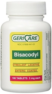 Gericare Bisacodyl 5 mg Enteric Coated Laxative 100 Tablets